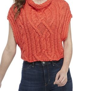 Coral Free People Frosted Cable Knit Sweater